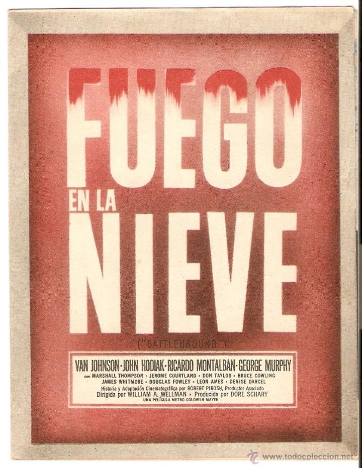 FUEGO EN LA NIEVE - VAN JOHNSON, JOHN HODIAK, RICARDO MONTALBAN, GEORGE MURPHY - METRO GOLDWYN MAYER (Cine - Folletos de Mano - Bélicas)