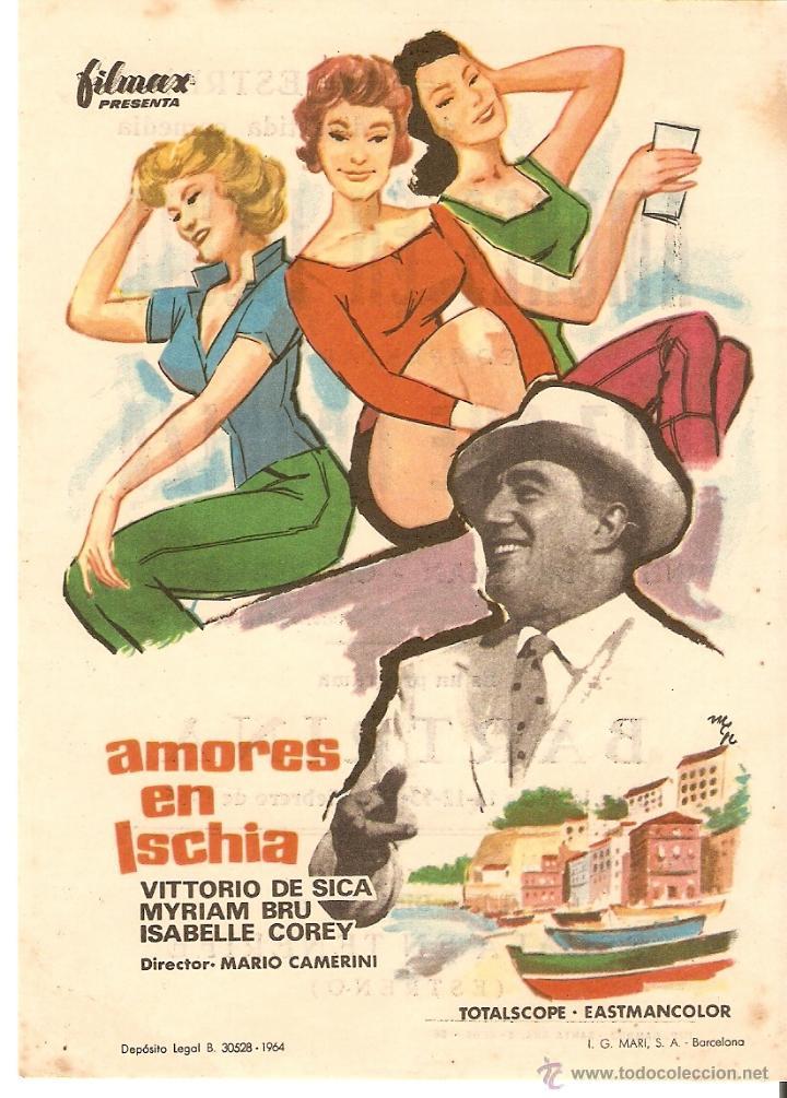 AMORES EN ISCHIA - VITTORIO DE SICA, MYRIAM BRU, ISABELLE COREY - DIRECTOR MARIO CAMERINI - MCP (Cine - Folletos de Mano - Comedia)