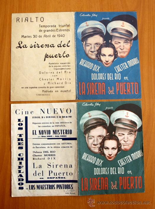 LA SIRENA DEL PUERTO - RICHARD DIX, DOLORES DEL RIO - CON PUBLICIDAD (Cine - Folletos de Mano - Comedia)