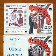 Cine: ESPERAME - CARLOS GARDEL, GOYITA HERRERO - 2 PROGRAMAS CON INTERIOR DIFERENTE - CON PUBLICIDAD. Lote 13914355