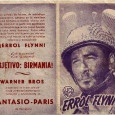 Cine: DIPTICO - OBJETIVO BIRMANIA - ERROL FLYNN - RAOUL WALSH - DORSO CINE FANTASIO PARIS BARCELONA. Lote 48420465