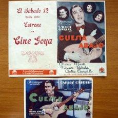 Cine: CUESTA ABAJO - CARLOS GARDEL, MONA MARIS - DOS PROGRAMAS CON PUBLICIDAD. Lote 25493051