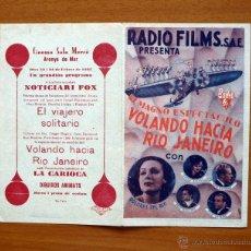 Cine: VOLANDO HACIA RIO JANEIRO - DOLORES DEL RIO, GINGER ROGERS, FRED ASTAIRE - CON PUBLICIDAD. Lote 11457348