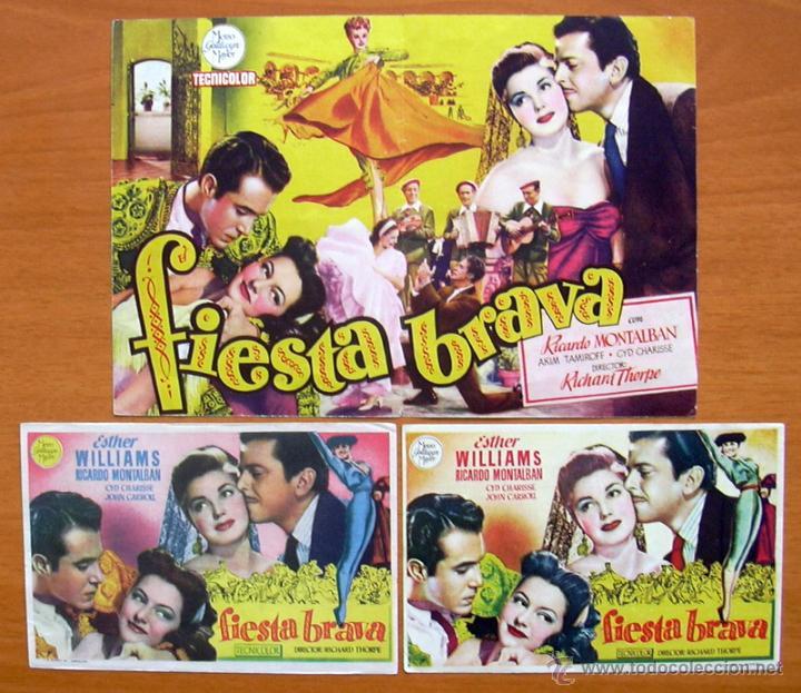 FIESTA BRAVA - ESTHER WILLIAMS, RICARDO MONTALBAN - CON PUBLICIDAD (Cine - Folletos de Mano - Comedia)