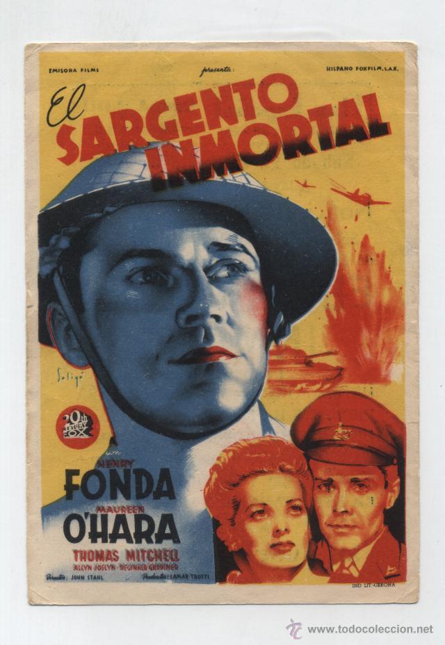 EL SARGENTO INMORTAL. SOLIGÓ. SENCILLO DE 20TH CENTURY. CINE ESPAÑOL - ANDÚJAR 1946. (Cine - Folletos de Mano - Bélicas)
