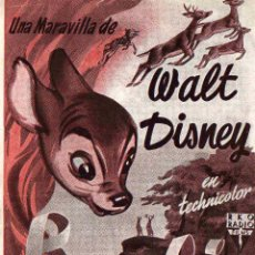 Cine: WALT DISNEY - BAMBI - ESCRITO DORSO CINE WINDSOR PALACE CRISTINA - RKO RADIO. Lote 29576899
