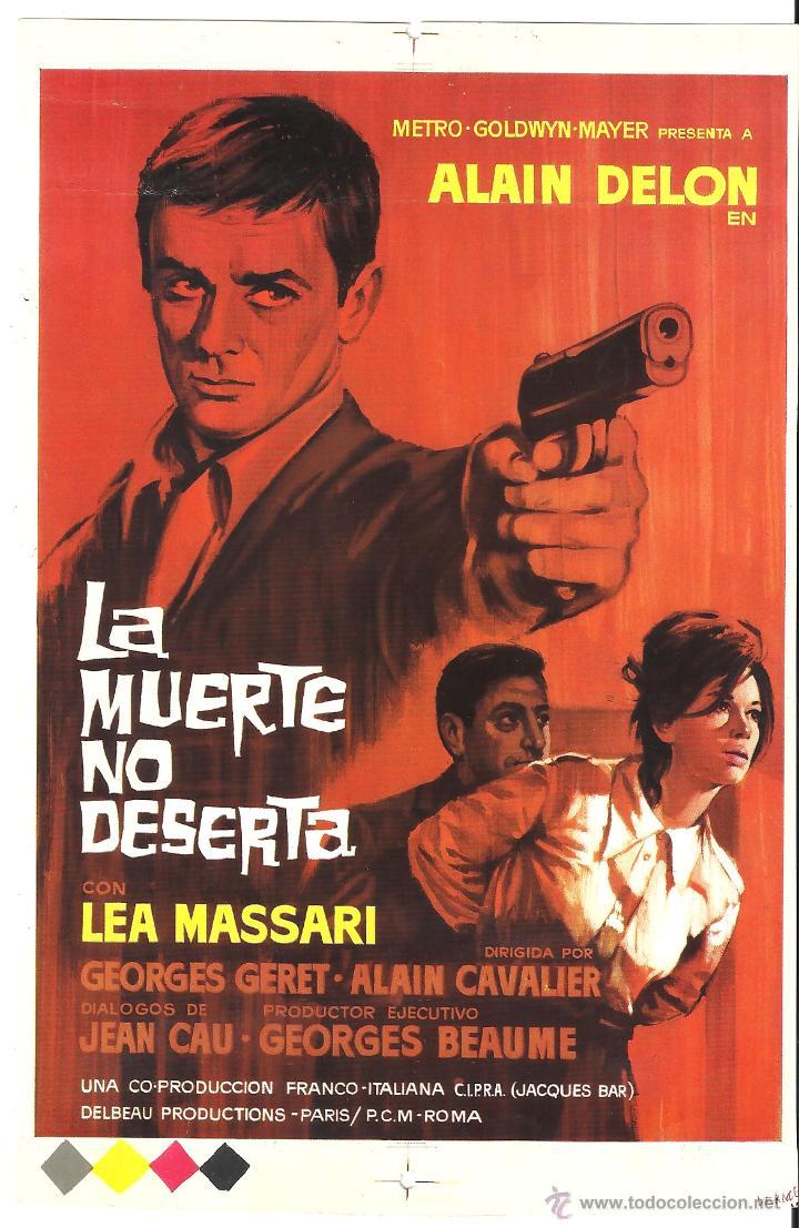 LA MUERTE NO DESERTA ALAIN DELON LEA MASSARI PROGRAMA PRUEBA DE IMPRENTA DEL CARTEL (Cine - Folletos de Mano - Acción)