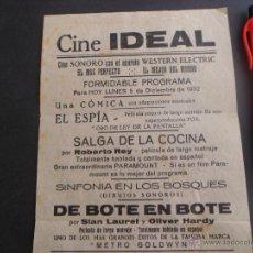 RARA PIEZA- SE VENDE EL PROGRAMA DEL CINE IDEAL 1932 - PAPEL CEBOLLA CON 5 PELICULAS - EL ESPIA ...