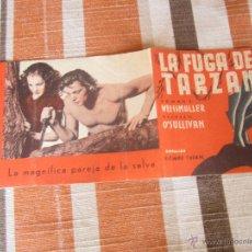 Cine: LA FUGA DE TARZAN PROGRAMA CINE DOBLE AÑOS 30 .. Lote 48731626