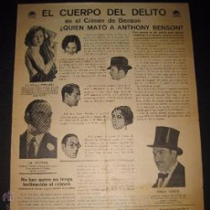 Cine: EL CUERPO DEL DELITO - PROGRAMA DE CINE GRANDE MIDE 24X33 CM - CINE TEATRO CHAPI - (C-2174). Lote 48732270