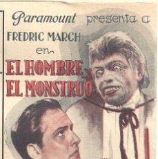 Cine: D EL HOMBRE Y EL MONSTRUO PROGRAMA DOBLE PARAMOUNT FREDRIC MARCH MIRIAM HOPKINS. Lote 48742559