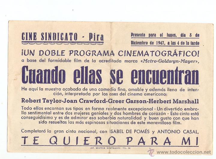 Cine: CUANDO ELLAS SE ENCUENTRAN - JOHN CRAWFORD, ROBERT TAYLOR, GREER GARSON - DIRECTOR ROBERT Z LEONARD - Foto 2 - 48745034