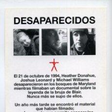 Foglietti di film di film antichi di cinema: EL PROYECTO DE LA BRUJA DE BLAIR, DIR. DANIEL MYRICK.. Lote 61161262