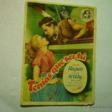 Cine: PROGRAMA TENIAS QUE SER TU.-GINGER ROGERS-PUBLICIDAD -. Lote 48826664