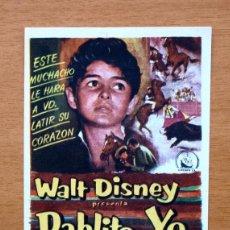 Cine: PABLITO Y YO - WALT DISNEY - PEDRO ARMENDARIZ, ANDRES VELASQUEZ - CON PUBLICIDAD. Lote 48862535