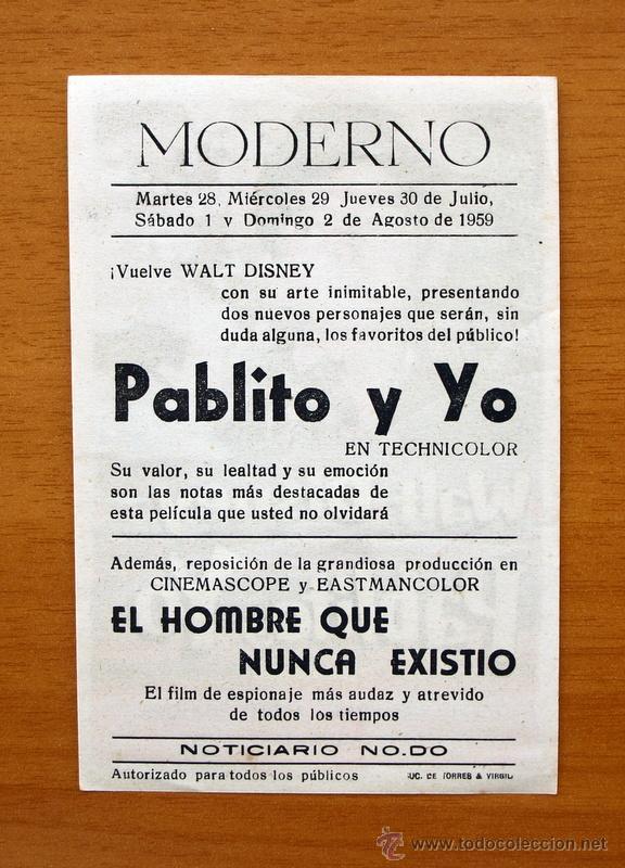 Cine: Pablito y yo - Walt Disney - Pedro Armendariz, Andres Velasquez - Con publicidad - Foto 2 - 48862535