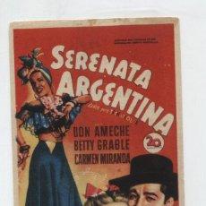 Folhetos de mão de filmes antigos de cinema: SERENATA ARGENTINA. SOLIGÓ. SENCILLO DE 20TH CENTURY. CINE DORADO - ZARAGOZA 1951.. Lote 48881548