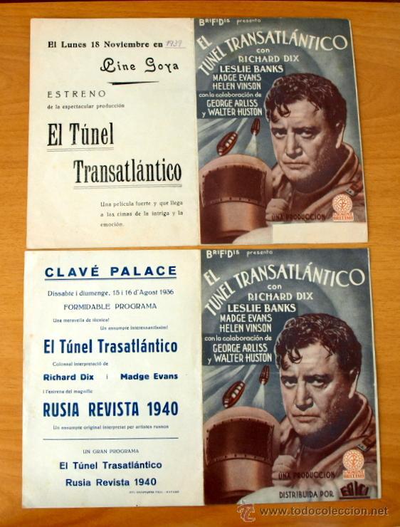 EL TUNEL TRANSATLÁNTICO - RICHARD DIX, LESLIE BANKS - CON PUBLICIDAD (Cine - Folletos de Mano - Comedia)