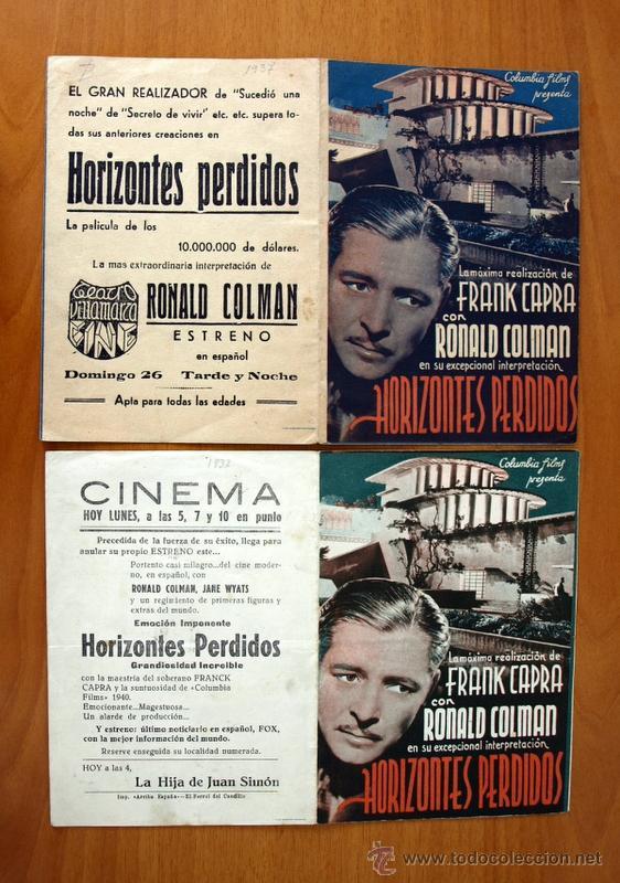 HORIZONTES PERDIDOS - RONALD COLMAN - CON PUBLICIDAD (Cine - Folletos de Mano - Drama)