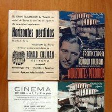 Cine: HORIZONTES PERDIDOS - RONALD COLMAN - CON PUBLICIDAD. Lote 48918920