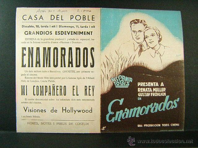 ENAMORADOS-RARISIMA PUBLICIDAD CATALAN-ERICH WASCHNECK-RENATA MULLER-CASA POBLE-CINE-FERXAMA-AÑOS 30 (Cine - Folletos de Mano - Suspense)