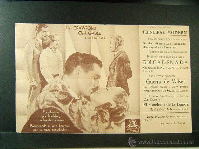 Cine: ENCADENADA-PUBLICIDAD EN CATALAN-CLARENCE BROWN-JOAN CRAWFORD-CLAK GABLE-PRINCIPAL MODERN-CINE RARO - Foto 2 - 48921919