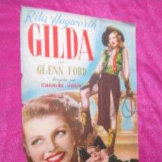 Cine: GILDA RITA HAYWORTH PROGRAMA DE CINE ,RAR0, 22 X 24 CM.. Lote 48949778