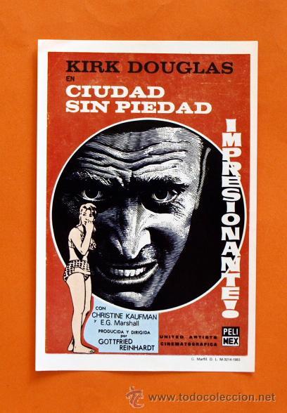 FOLLETO DE MANO MODERNO - KIRK DOUGLAS EN CIUDAD SIN PIEDAD - GRAFICAS MARFIL - (Cine - Folletos de Mano - Acción)