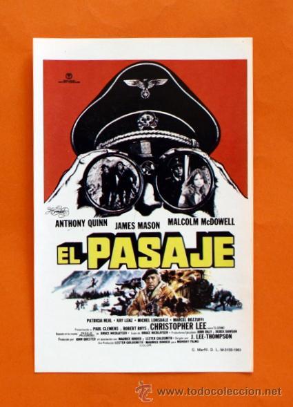 FOLLETO DE MANO MODERNO - EL PASAJE - ANTHONY QUINN, JAMES MASON - GRAFICAS MARFIL - (Cine - Folletos de Mano - Acción)
