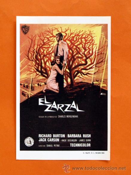 FOLLETO DE MANO MODERNO - EL ZARZAL - RICHARD BURTON, BARBARA RUSH - GRAFICAS MARFIL - (Cine - Folletos de Mano - Acción)