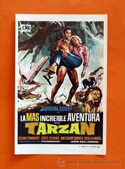 FOLLETO DE MANO MODERNO - TARZAN - SEAN CONNERY, SARA SHANE - GRAFICAS MARFIL - (Cine - Folletos de Mano - Acción)