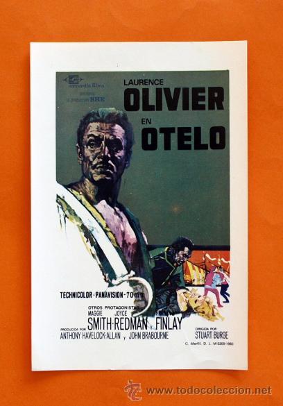 FOLLETO DE MANO MODERNO - OTELO - LAURENCE OLIVIER - GRAFICAS MARFIL - (Cine - Folletos de Mano - Acción)