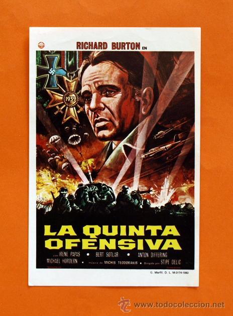 FOLLETO DE MANO MODERNO - LA QUINTA OFENSIVA - RICHARD BURTON - GRAFICAS MARFIL - (Cine - Folletos de Mano - Acción)