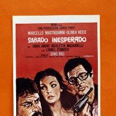Cine: FOLLETO DE MANO MODERNO - SABADO INESPERADO - MARCELLO MASTROIANNI - GRAFICAS MARFIL - . Lote 48953691