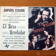 Cine: EL BESO REVELADOR -WARREN WILLIAM, GAIL PATRICK - CON PUBLICIDAD. Lote 48962659