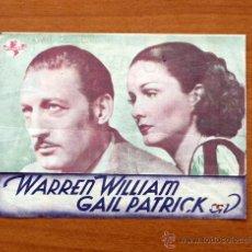 Cine: EL BESO REVELADOR -WARREN WILLIAM, GAIL PATRICK - CON PUBLICIDAD. Lote 48962687