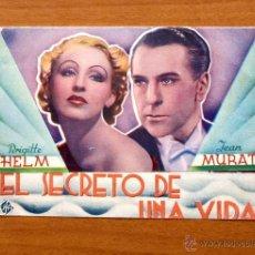 Cine: EL SECRETO DE UNA VIDA - BRIGITTE HELM, JEAN MURAT - CON PUBLICIDAD. Lote 48972301