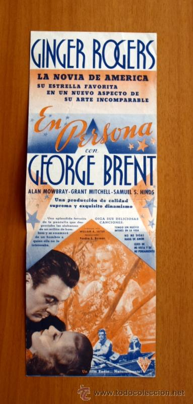 Cine: En persona - Ginger Rogers, George Brent - Con publicidad - Foto 2 - 48980636