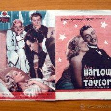Cine: JUGANDO A LA MISMA CARTA - JEAN HARLOW, ROBERT TAYLOR - CON PUBLICIDAD. Lote 48989103