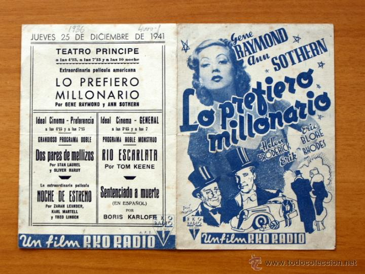 LO PREFIERO MILLONARIO - GENE RAYMOND, ANN SOTHERN - CON PUBLICIDAD (Cine - Folletos de Mano - Comedia)