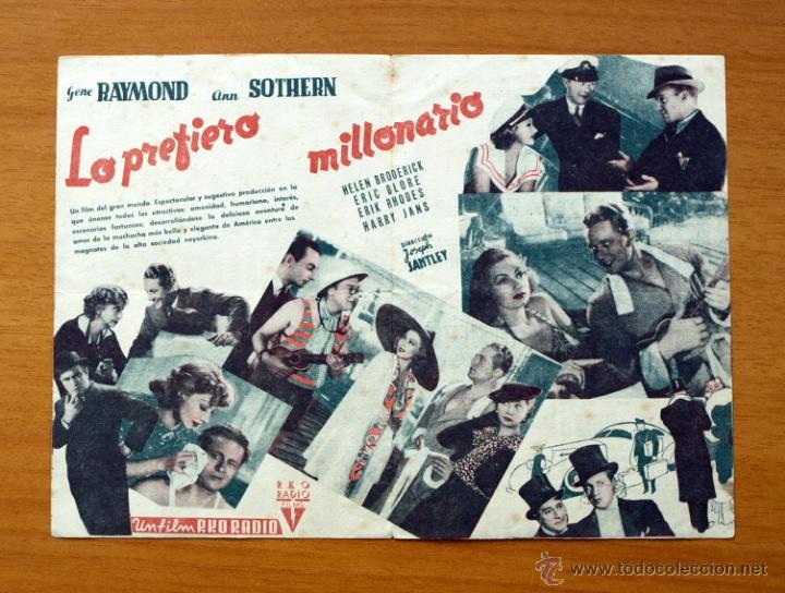 Cine: Lo prefiero Millonario - Gene Raymond, Ann Sothern - Con publicidad - Foto 2 - 48998011