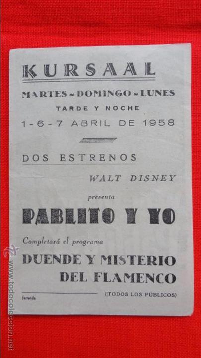 Cine: pablito y yo, sencillo 1958, pedro armendariz, walt disney, con publicidad Kursaal Reus - Foto 2 - 49013435