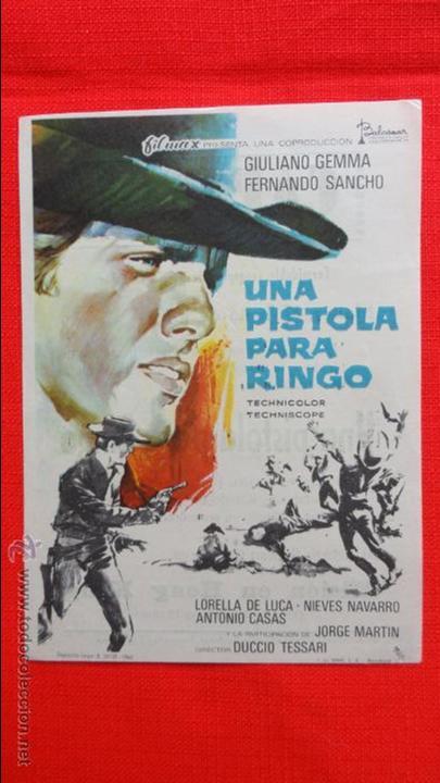 UNA PISTOLA PARA RINGO, IMPECABLE SENCILLO 1969, GIULIANO GEMMA FERNANDO SANCHO, PUBLICIDAD CAPITOL (Cine - Folletos de Mano - Westerns)