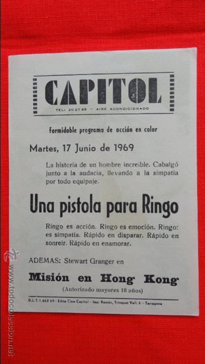 Cine: una pistola para ringo, impecable sencillo 1969, giuliano gemma fernando sancho, publicidad Capitol - Foto 2 - 49015013