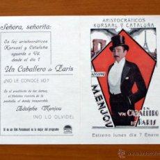 Cine: UN CABALLERO DE PARIS - ADOLPHE MENJOU, MARQUÉS DE MARIGNAN - CON PUBLICIDAD. Lote 49022573