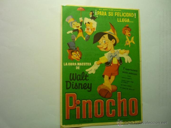 PROGRAMA PINOCHO.-DISNEY PUBLICIDAD MONTERROSA-REUS (Cine - Folletos de Mano - Infantil)