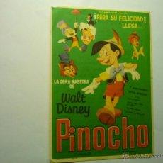 Cine: PROGRAMA PINOCHO.-DISNEY PUBLICIDAD MONTERROSA-REUS. Lote 49035991