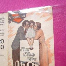 Cine: AHORA Y SIEMPRE G. COOPER PROGRAMA CINE DOBLE 1935. Lote 49162138