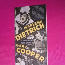 Cine: DESEO G. COOPER M. DIETRICH PROGRAMA CINE DOBLE. Lote 49162983