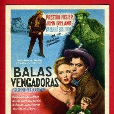Cine: BALAS VENGADORAS , SENCILLO , ORIGINAL , PMD 784. Lote 190932967